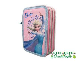 Astuccio portacolori 3 zip Scuola Frozen Elsa