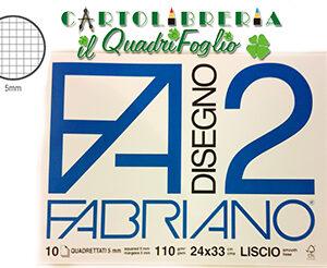 Album Fabriano 2 Quadretti 5 mm. Liscio cm.24×33 Fg.10