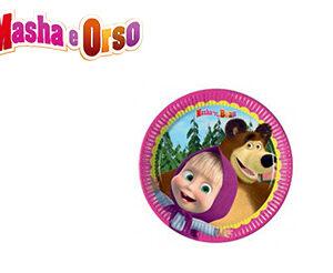 Masha e Orso piatti torta festa compleanno Pz.8