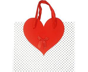 Busta con manico decorazione cuore cm.26x32x11