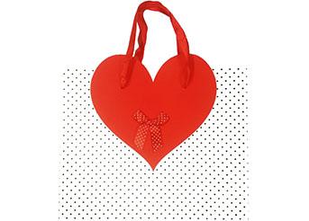 Busta con manico decorazione cuore cm.31x41x13