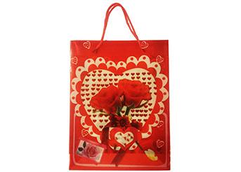Busta con manico rose rosse cm.23x30x7,5