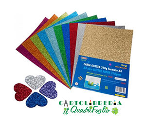 Carta Glitter A4 gr.210 Cf.10 colori assortiti