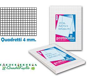 Fogli protocollo A4 quadretti 4mm Cf.200
